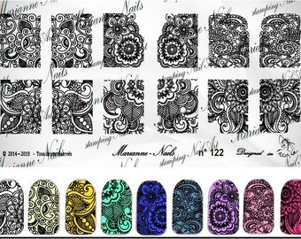Nail art stamping plate Marianne Nails Henna 122