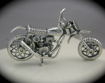 Motorcycle Figurine, Off Road Motorcycle, Sterling Silver, Motorcycle, Sterling Sculpture