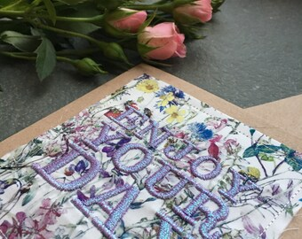 Enjoy Your Day Holographic Pink/Purple Metallic Embroidered Liberty Print Fabric Handmade Card