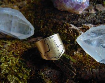 Viking rune ring, Brass viking ring, Mjolnir ring, Thor ring, medieval ring, asatru ring, Odin, Norse god jewelry, men's ring, norse ring