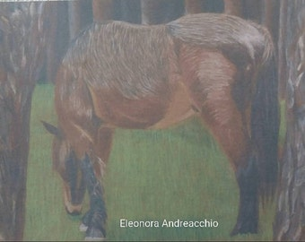 Printing an original drawing with colored pencils on board, portrait Horse in the woods, wall decoration, home furnishings, gift idea