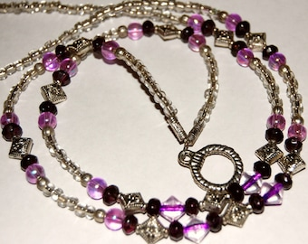 Silver and Purple Beaded ID Badge/Glasses Holder Lanyard Necklace