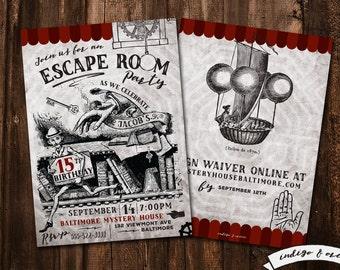 Escape Room Birthday Party Invitations,  Escape party invitation, Birthday party invitations, mystery party, High quality printable invites