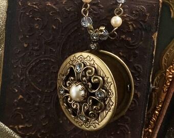 Pearl and Crystal Bronze Locket, Locket Necklace, Pearl Locket, Crystal Locket, Lockets, Pearl Necklace, Keepsake Necklace N1573