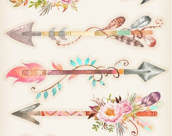 Shabby Chic Arrows and Feathers - 8x10 Fabric Block - Great for Quilting, Pillows & Wall Art - Buy 2, Get 1 FREE
