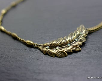 art deco necklace, bronze leaf necklace