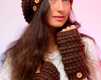 Set hat and fingerless mittens. Set of crochet beanie hat and mittens. Romantic merino wool set