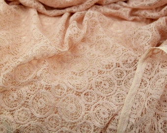 Cotton Machine Crochet Lace Fabric in Coral