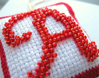 Custom Bead Embroidery Monogram - Beaded Embroidered Initial - Alphabet Mini Pillow - Glass Bead Initial - Personalised Gift - Beaded Sachet