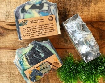 Starry Sky Goatmilk Soap, Mint Soap, Berry Soap, Planet Soap, Minnesota Soap, Galaxy Soap, Swirled Soap, Berry Mint Scented, Space Soap, Bar