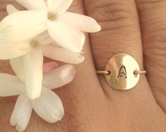 Mother's Day Gift, Gold Initial Ring, Personalized Rings, Hand Stamped Initial Ring, Daughter Ring, Gold Ring, Natashaaloha