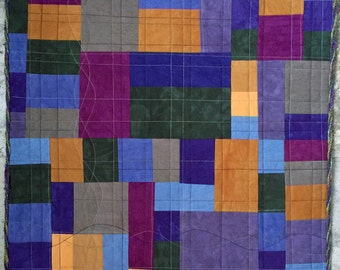 Color Play IV Abstract Handmade Fiber Art Quilted Wall Hanging