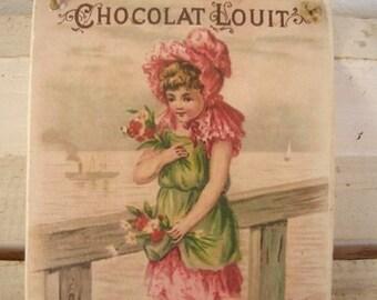vintage CHOCOLAT LOUIT,French advertising image,chocolate shop,decorative hanging tag