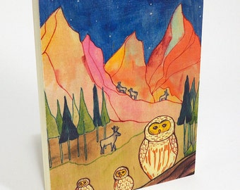 Mountain High - print on wood