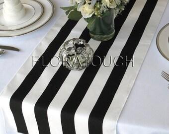 Black and White Striped Table Runner Wedding Table Runner with white stripes on the borders
