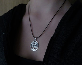 oval tree of life pendant on necklace