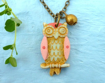Owl Necklace - Girl jewelry - Girl necklace - Flowergirl - Whimsical Owl