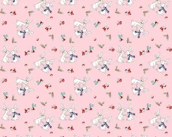 Pixie Bunnies Christmas Fabric in Pink by Tasha Noel for Riley Blake Designs