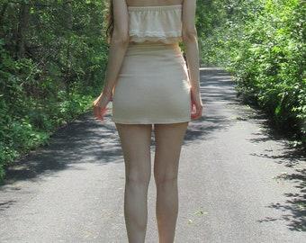 sweet one set - beautiful boho hippie natural soft cotton gauze mini wrap skirt strapless crop top festival set xs small