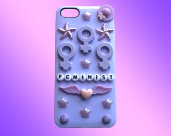 FEMINIST iPhone 5s Case // Pastel Purple Kawaii Cyber Punk Cute
