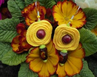 Flower-shaped fabric earrings