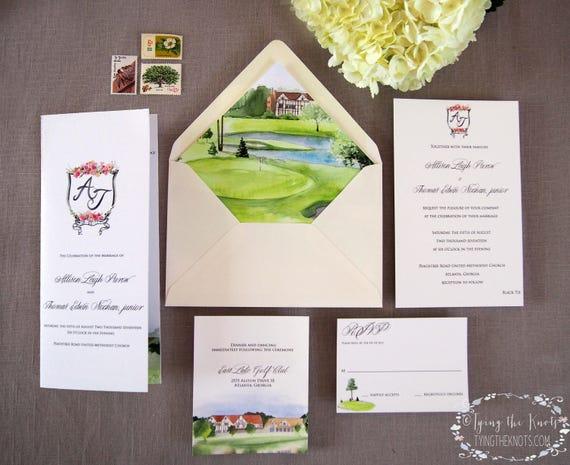 Clubhouse wedding golf course wedding formal invitation like this item stopboris Choice Image