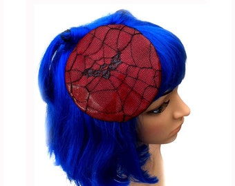Red Vinyl Round fascinator with Net Spiderweb Bat Overlay