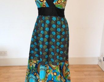 Turquoise and green patterned dress, long summer dress, hippie dress, vacation wear, cotton beach dress.