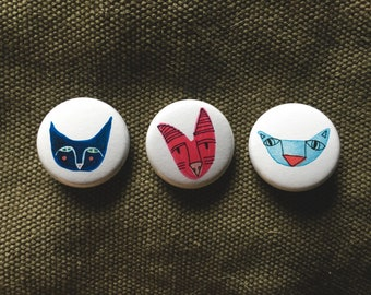 Three Cat Buttons