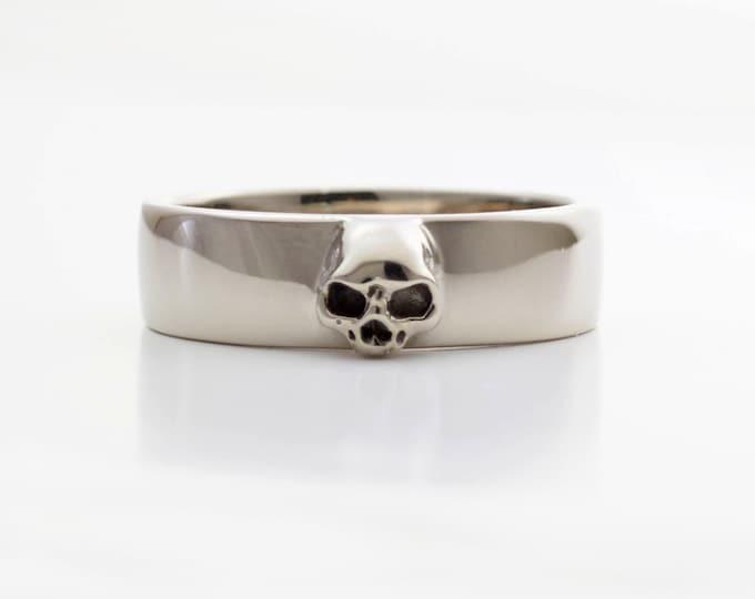 Mens Skull Wedding Ring White Gold Grooms Skull Ring Goth Groom Ring Small Mens Skull Ring Psychobilly Wedding Band Wedding Set All Sizes
