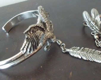 Vintage~EJC~Silver~Slave Bracelet~Pendant~Ring Set~1995~Big Eagle~Feathers~Harley Rider~Motorcycle~Biker~Jewelry~Cuff Bangle Bracelet~Nice