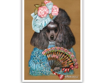 Poodle. The Spanish Beauty / Poodle Art Print / Lady Dog Portraits of Animal Century