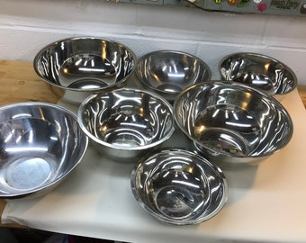 Stainless Steel Bowls - Stacking Steel Cooking Bowls - Kitchen Mixing Bowls