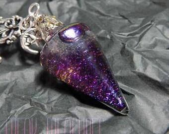 "Wicked ""Black potion"" water pendulum necklace; witchy moonchild kawaii soft grunge pastel goth water globe"