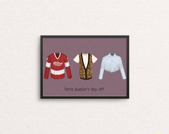 Cameron, Ferris and Sloane Art Print / Ferris Bueller's Day Off Illustration