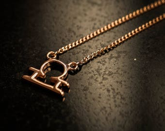 Rose Gold Over Sterling Silver Zodiac Necklace - Libra