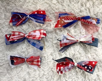 Patriotic Hair Bows Lot of 6 Hair Bows Red White And Blue Hair Bow Junk Bows Summer Hair Accessories Custom Girls Hair Bows 4th of July