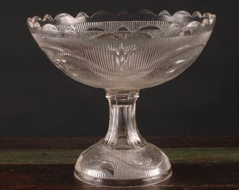 Large Footed Pressed Glass Bowl, USA
