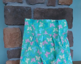Medium Pleated Tote Bag in Green with Butterflies