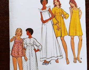 Misses Nightgown, Long or Short Robe, and Panties Sewing Pattern, Butterick 5744, Size 12, Vintage 1970s, Cut & Complete