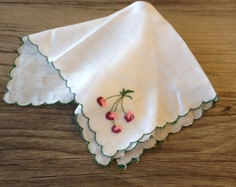 Vintage Cherry Embroidered Handkerchief Hanky with Green Scalloped Edge- vintage hanky,cherries hanky, embroidered hanky, floral hanky