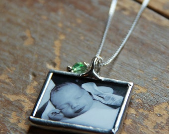 Custom Soldered Glass Birthstone Photo Necklace- New Mom Necklace, Mommy Necklace- Memorial Photo Necklace-Custom Photo Jewelry