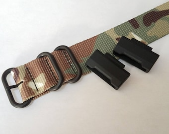 JaysAndKays® Adapters and 24mm Strap Kit for GA100 GD100 and 16mm Lug Casio GShock G-Shock Camo Black PVD 3-ring Ballistic Nylon