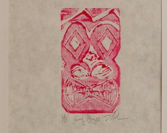Hand pulled King Gogee tiki print in pink