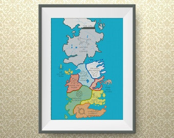 BUY 2, GET 1 FREE! Map of Westeros cross stitch pattern, Game of Thrones Cross stitch pattern, pdf counted cross stitch pattern, #P142