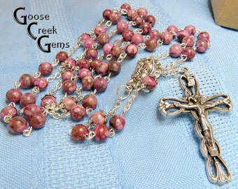 SALE- Pink Maifanite Gemstone Rosary- Madonna and Child Center- MOTHER'S DAY Gift