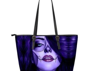 Calavera Sugar Skull PU Leather Tote Bag Design #1