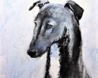 Whippet Greyhound original acrylic painting Galgo Espanol dog Spanish Italian hound animal art gift one of a kind for greyhound lover