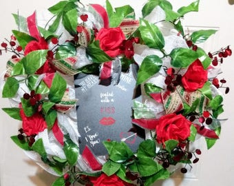 Valentine Heart Wreath Red Roses Sealed with a kiss I love you Anniversary Wreath
