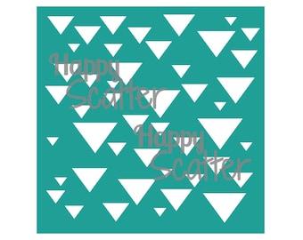 "Triangles Stencil, Scattered Triangles 6x6"" Stencil, Random Pattern Stencil, 6x6 Stencil, Mixed Media Stencil, Scrapbooking, Cardmaking"